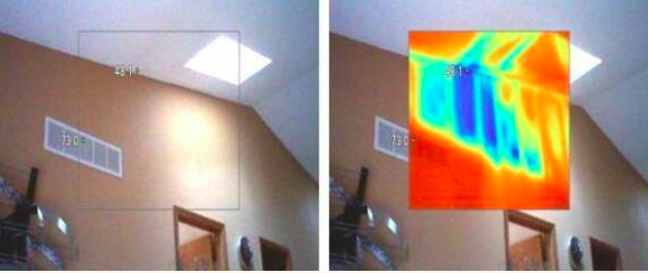 This set of images shows both a regular image and a thermal image of a leaking skylight discovered by Florida Certified Home Inspections.