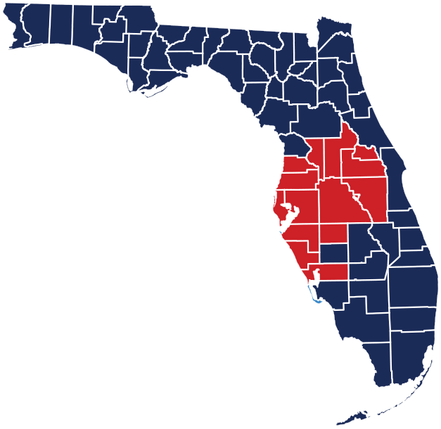 This map highlights the twelve Florida counties that Florida Certified Home Inspections serves.